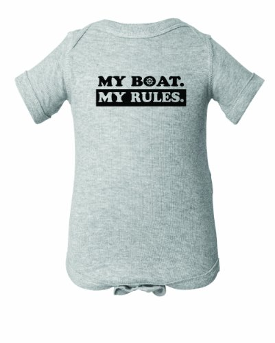 (Custom Print Tees -My Boat My Rules- Unisex Infant Onesie-Sport Grey-6)