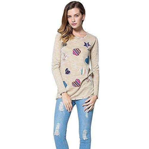 Kcatsy Womens Casual Scoop Neck Long Sleeve Patch Design Sweet Crochet Women's T-Shirt ()