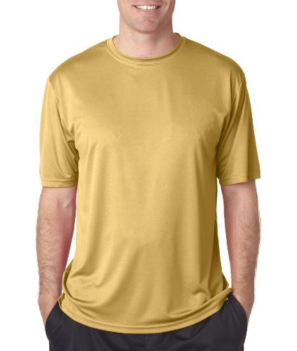 A4 Men's Cooling Performance Crew Short Sleeve, Vegas Gold, - Fashion Vegas Square Las
