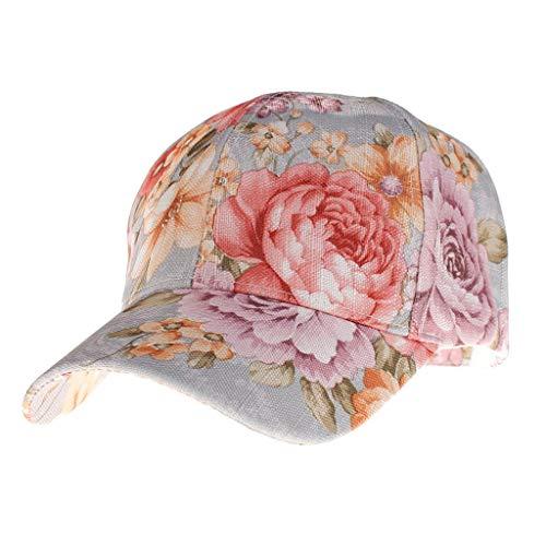 Yucode Women Summer Ponytail Baseball Cap Messy Bun Floral Print Hat Sun Caps Light Blue