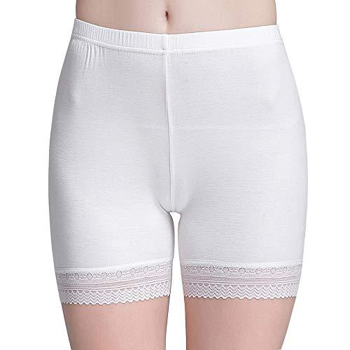 (Vinconie Womens Under Dress Shorts Lace Slip Shorts Under Skirt Short Legging White)