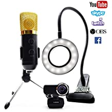 Stream Team Streaming Equipment Kit- Includes Ausdom Full HD Widescreen 1080p Webcam, USB Microphone, & LED Video Light. ( May need a Mic and Headphone Splitter for Playstation & Xbox).