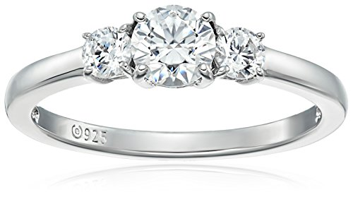Platinum-Plated Sterling Silver Round 3-Stone Ring made with Swarovski Zirconia (1 cttw), Size 5 from Amazon Collection