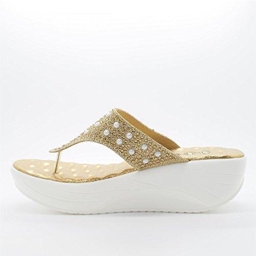 doré Footwear Sandales Plateforme femme London Or TpXawqXd