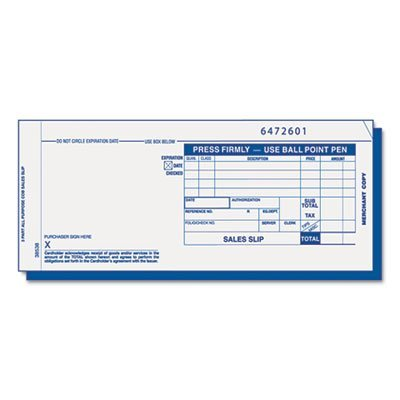 - Credit Card Sales Slip, 7 7/8 x 3-1/4, Three-Part Carbonless, 100 Forms