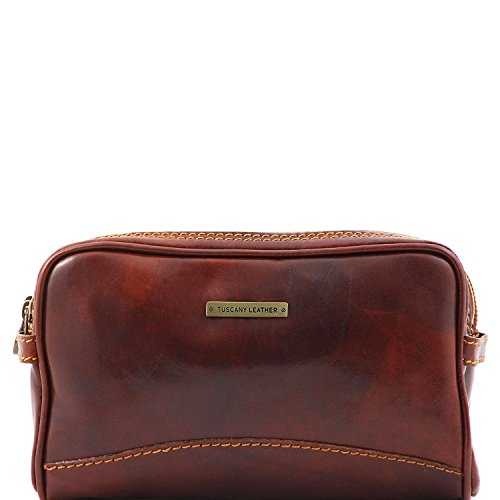 Tuscany Leather - Igor - Leather toilet bag Brown - TL140850/1 by Tuscany Leather
