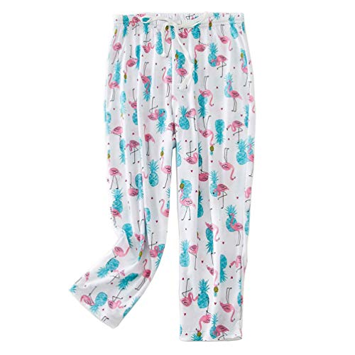 ENJOYNIGHT Women's Capri Pajama Pants Lounge Causal Bottoms Print Sleep Pants (XX-Large, Flamingo)
