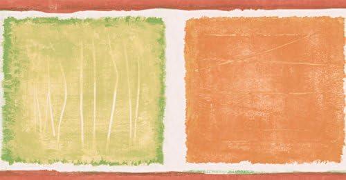 """オレンジグリーン抽象壁紙ペイントスクエアデザインロール15 'x 5.25 """""""