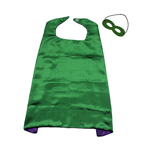 Whoopgifts 70cm x 70cm Polyester Satin Reversible Kids, Adult, Men, Women Superhero Cape with Mask, Green&Purple -