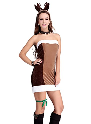 Comvip Party Christmas Women Cosplay marrone abiti da Set alce tzrxtUqw