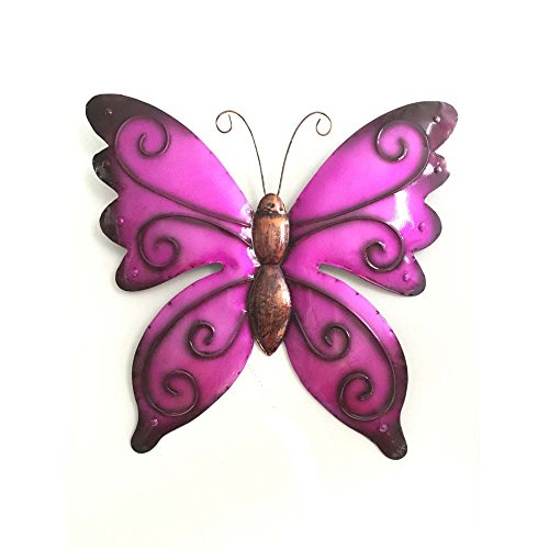 Home Yard Decoration Metal Butterfly Wall Hanging Pink