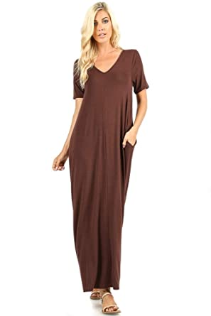 0e0441a6fd9e 1025 Women's Casual Long Relaxed Loose T-Shirt Maxi Dress with Half Sleeves  and Pockets (Americano, 2X) at Amazon Women's Clothing store: