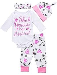 4 pcs Baby Girls Pants Set Newborn Infant Toddler Letter...