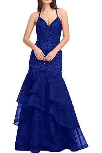 DressyMe Women's Bodycon Evening Party Dresses Halter Mermaid Lace Organza-26W-Deep Royal