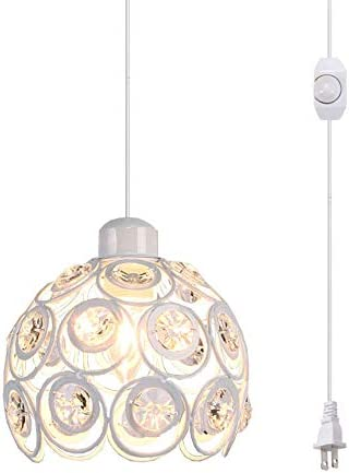 Plug-in Pendant Light Crystal Hanging Swag Pendant Lamp Hollow White Shade Light Fixtures Mini Classic Chandelier with UL Listed On Off Dimmer Switch Cord Bulb Not Included