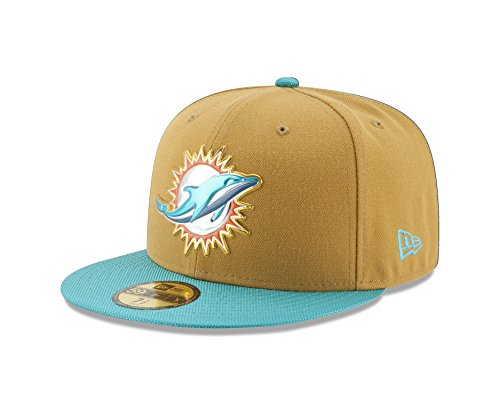 NFL Miami Dolphins Gold Collection 59FIFTY Fitted Cap, Size 718, Gold (Gold Dolphin Hat)
