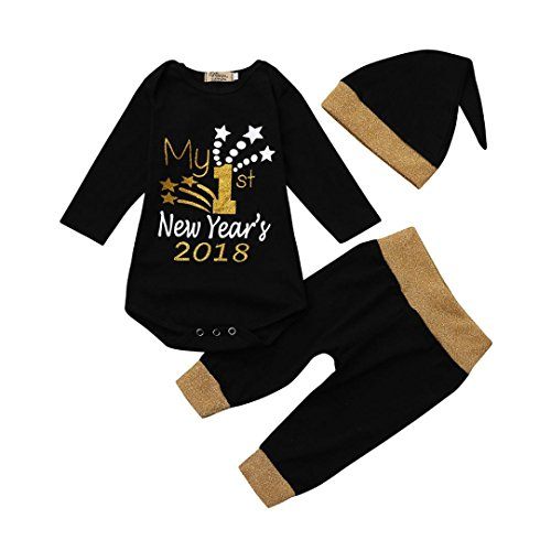 FEITONG Newborn Infant Baby Boy's Deer Bodysuit Romper Jumpsuit+ Hat (0-3 Months, Black #3)