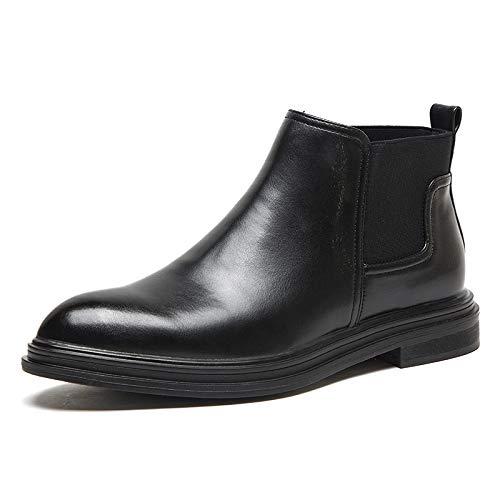 schwarz 45(UK10.5) qwe Chelsea Stiefel Spitzen Zehen Slip On Stiefeletten Business Casual Herrenstiefel,schwarz-45(UK10.5)