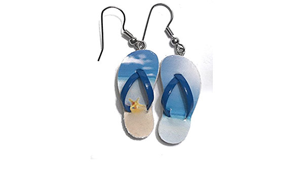 1 pair- Flip Flop Earrings with two colorful blue oblong painted beads Summer Fun pool or vacation. Perfect for beach 2 12 drop