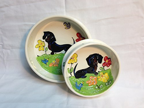 Cheap Dachshund 6″ Dog Bowls for Food and Water. Personalized at no Charge. Signed by Artist, Debby Carman.