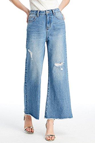 Pantaloni Simgahuva Gamba Alto Jeans Molto Dei Donne Blu Juniors Palazzo In Larghi qwqrg86