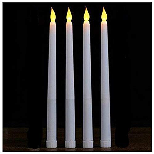 lacgo (paquete de 4) 27.9cm LED sin llama taper vela para la cena, parpadeo sin llama velas, funciona con pilas LED mesa de...