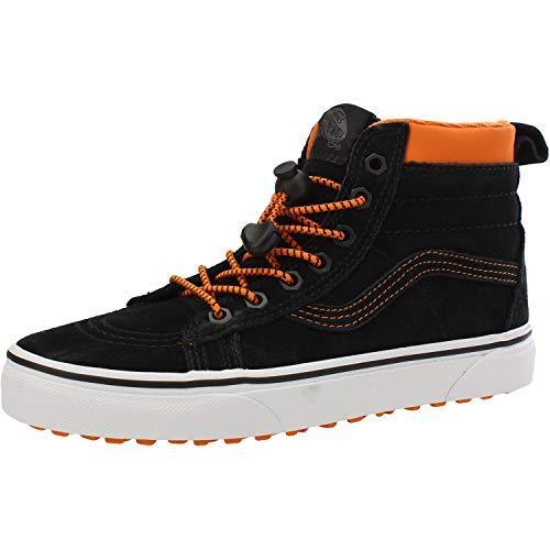 (Vans Boy's SK8 Hi Kids Youth MTE Suede All Weather Trainer Boots 4 M US Big Kid Black Suede/Orange)