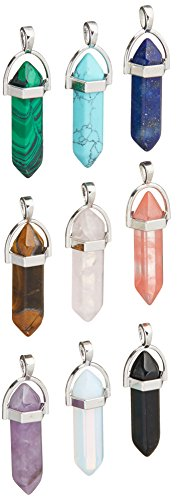 9 Piece Crystal Hexagonal Healing Point Pendant Chakra Cut Gemstone Pendant -