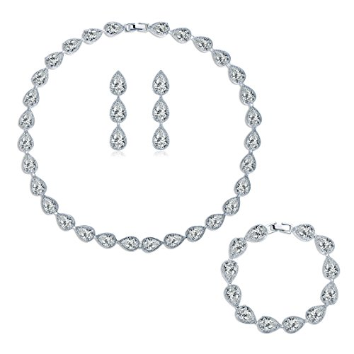 MASOP Silver-tone CZ Cubic Zirconia Pear Shape Teardrop Choker Necklace Bracelets Earrings Jewelry Set