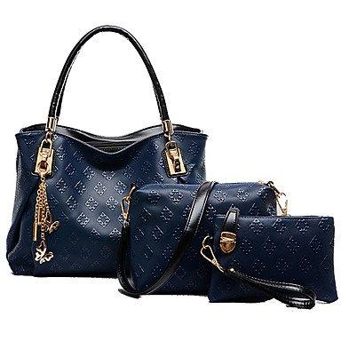 La mujer Cowhide exteriores / oficina / Bolsa de carrera establece,azul claro Beige