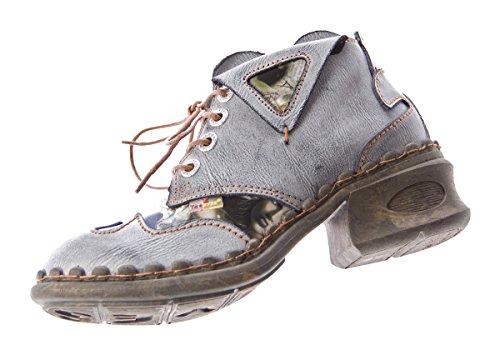 Negro para Schwarz Grau Piel cordones TMA mujer Zapatos de de W7Bax16qH