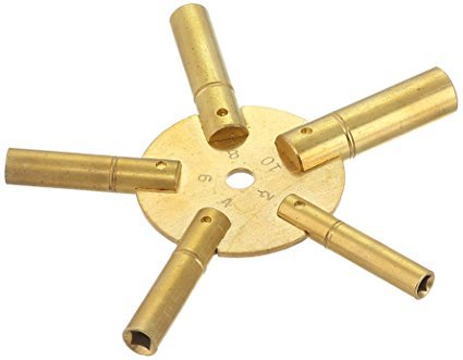 1 Piece Clock Winding Key - 5 Way, Original Brass, EVEN Number from Brass Blessing