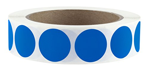 "1"" Dark Blue Color-Code Dot Labels on Cores - Permanent Adhesive, 1.00 inch - 1,000 Stickers per Roll"