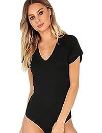 7ada79113e Women s Short Sleeve Tops Basic V-Neck Leotard Bodysuit Jumpsuit