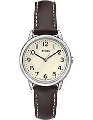 Timex TW2P59500GP Women's Dress Beige Dial with Brown Leather Strap Wrist Watch