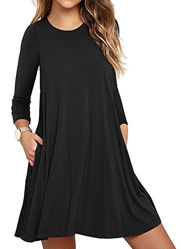 Mujer Casual Loose Talla Grande Vestido de Camiseta con Bolsillos O-Cuello Manga Larga Vestido de Fiesta de Noche Negro