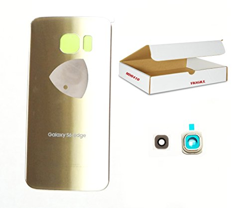 ((md0410) Gold back door rear battery housing camera lens cover Compatible for Galaxy S6 Edge G925 replacement + adhesive + opening tool)