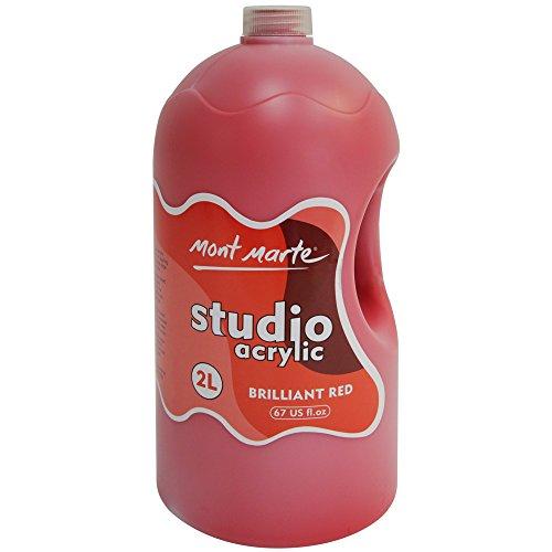 Mont Marte Studio Acrylic 2 Litre Brillant Red Red Poster Paint Bottle
