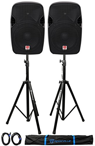 (2) Rockville SPGN124 12'' Passive 2400W DJ PA Speakers+Stands+Cables+Carry Bag by Rockville