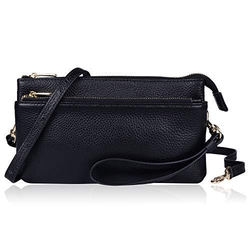 Befen Women Full Grain Leather Tripple Zip Crossbody Bag Crossbody Cell Phone Wallet Purse Bag Phone Wristlet (Black bag)
