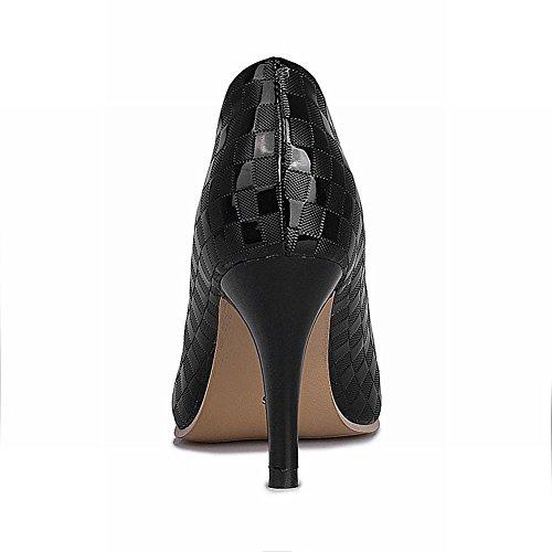 Carolbar Vrouwen Puntige Neus Mode Sexy Chic Kantoor Dame Stiletto Hoge Hak Jurk Pumps Schoenen Zwart