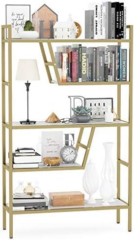 Teraves 5-Tier Adjustable Bookshelf Wood Bookcase with Metal Frame Book Shelf Organizer for Living Room/Bedroom/Study Room,46 Variants (White+Gold Frame)