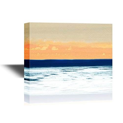 Abstract Seascape with Orange Clouds in the Sky