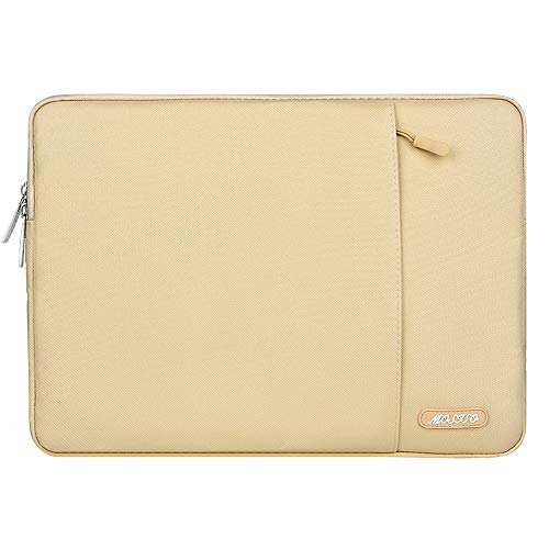 MOSISO Laptop Sleeve Bag Compatible with 13-13.3 inch MacBook Pro, MacBook Air, Notebook Computer, Vertical Style Water Repellent Polyester Protective Case Cover with Pocket, Camel
