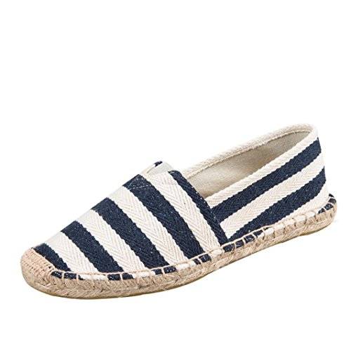 Sikye Casual Flats,Men and Women's Striped Canvas Loafers Summer Couple Shoe Slip-On (Blue, CN Size:44) by Sikye