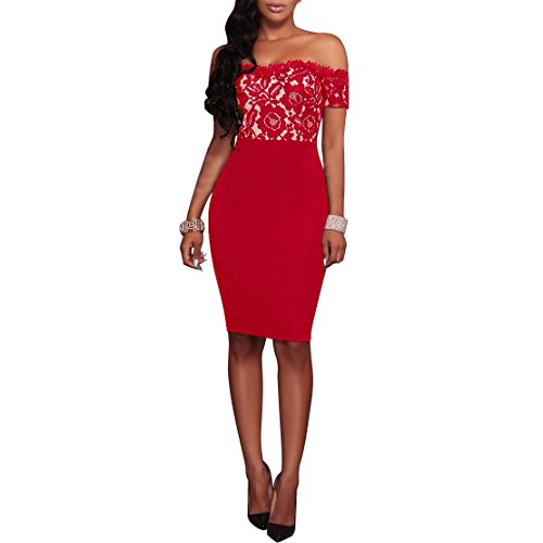 Bodycon Cocktail Synker Femmes Soire paules Manches Rouge Robe Nues Dentelle Courtes Robe De 608pq6f