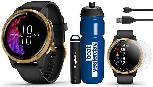 Garmin Venu Black Gold GPS Fitness Smartwatch Hydration Bundle Garmin Water Bottle, HD Screen Protectors PlayBetter Portable Charger AMOLED, Music, Spotify Wrist-Based HR