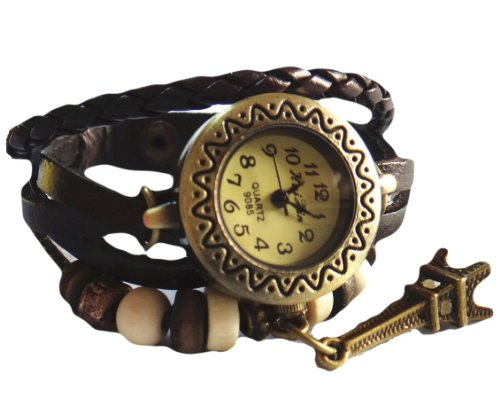 Misslo® Brown Round Dial Vintage Weave Wrap Bracelet Wrist Watch with Eiffle Tower