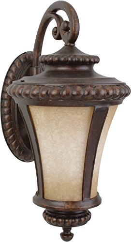 Craftmade Z1224-112 Wall Lanterns with Antique Scavo Glass Shades, Bronze