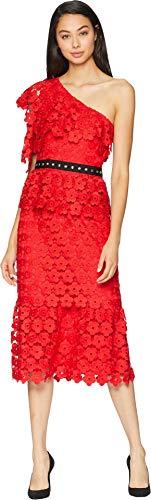 Studded Shoulder Dress - Juicy Couture Women's Floral Guipure One Shoulder Dress True Red 4